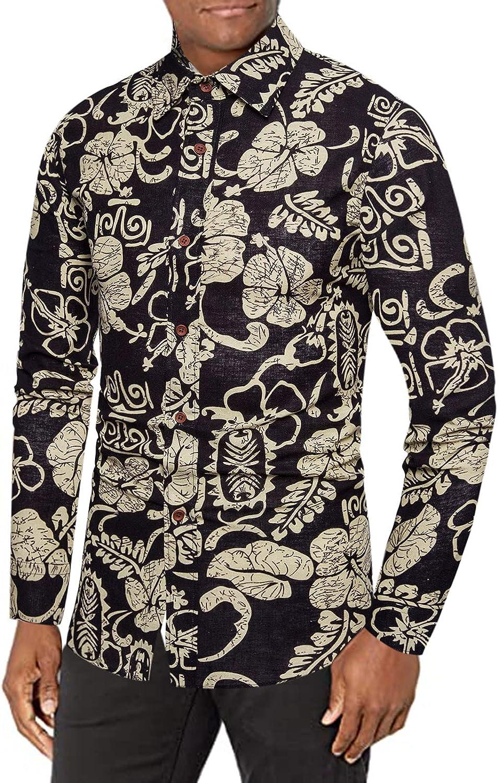 Huangse Mens Hawaiian Shirts Floral Printed Casual Long Sleeve Button Down Dress Shirts Hawaii Beach Shirt