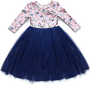 Flofallzique Long Sleeves Girls Fall Dress Easter Party Tulle Toddler Floral Dress for 1-12 Y