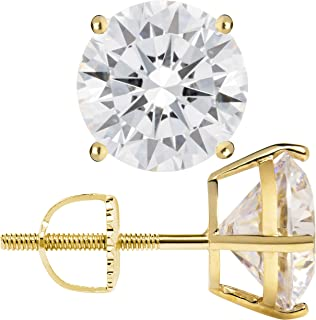 14K Solid Yellow Gold Stud Earrings | Round Cut Cubic Zirconia | Screw Back Posts | .50 to 4.0 CTW | With Gift Box