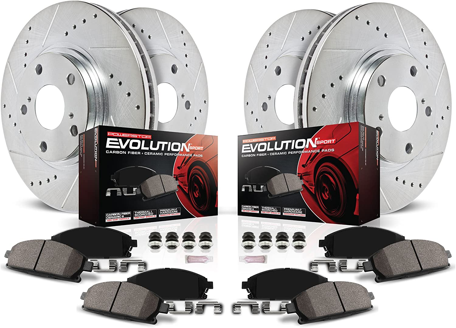 Memphis Mall Power Stop K2441 Front and Challenge the lowest price Rear Carbon Z23 Fiber with Pads Brake