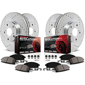 Power Stop K2798 Front & Rear Brake Kit with Drilled/Slotted Brake Rotors and Z23 Evolution Ceramic Brake Pads
