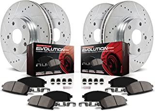 Power Stop K2853 Front & Rear Brake Kit with Drilled/Slotted Brake Rotors and Z23 Evolution Ceramic Brake Pads,Silver Zinc Plated