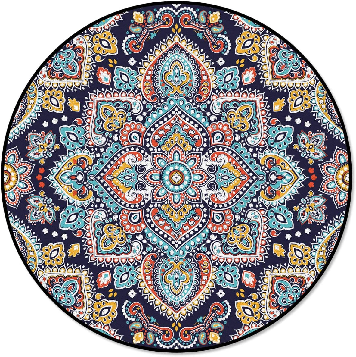 OneHoney Ranking TOP3 Round Area Rugs Indian Mandala Entryway Paisley New product type Indoor