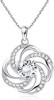 Sllaiss Sterling Silver Pendant Necklace Crystals from Swarovski Good Luck Four Leaf Clover Gem Necklace with Gift Box