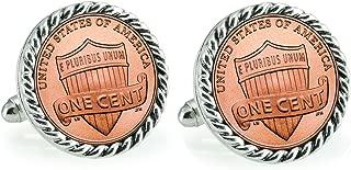 American Coin Treasures Lincoln Union Shield Penny Silvertone Rope Bezel Cuff Links