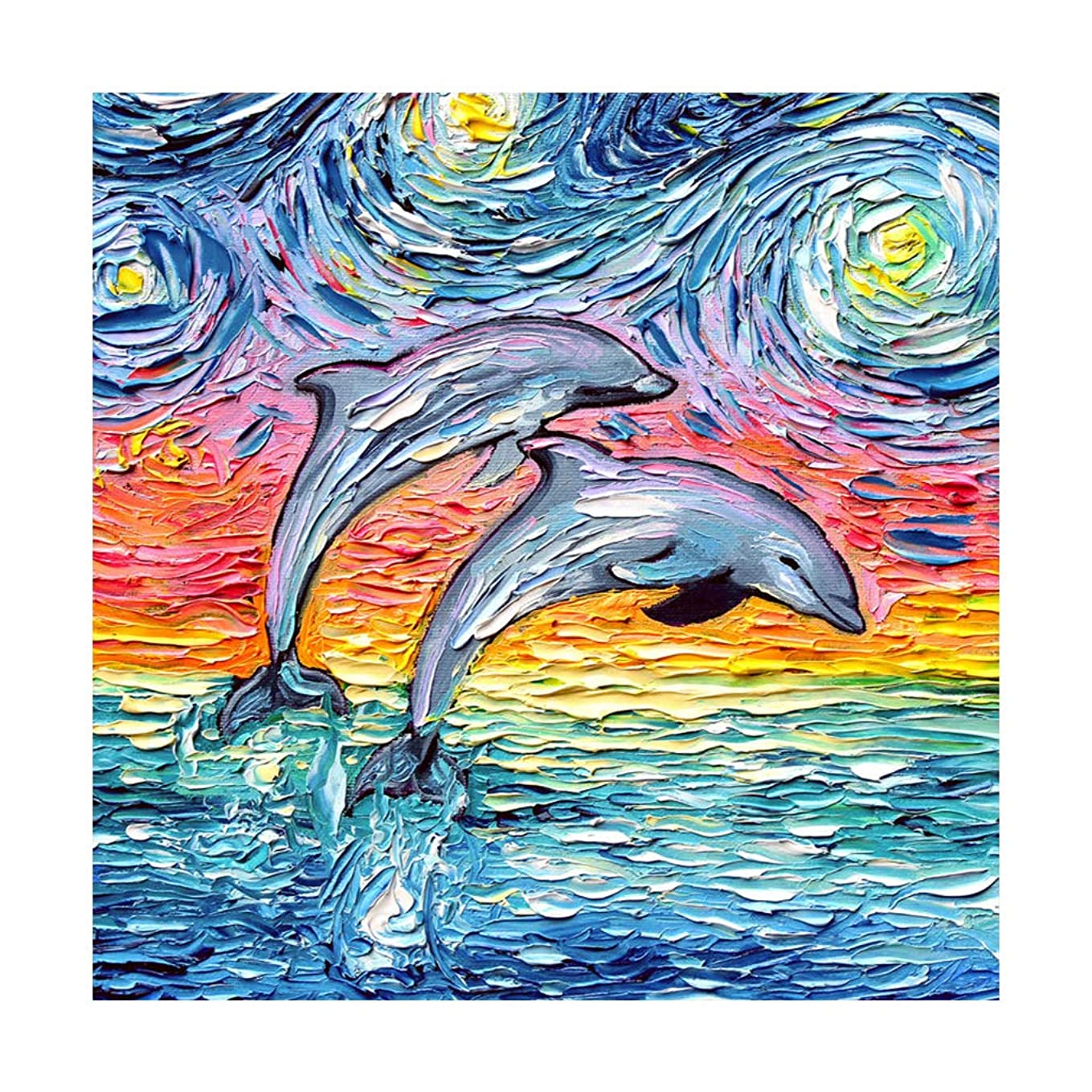 DIY Diamond Painting Kits for Adults,Dolphin in The Stars for Wall,5d Diamond Art Rhinestone Embroidery Cross Stitch Kits Supply Arts Craft Canvas Wall Decor Stickers 12x12 inches hh0671093222860