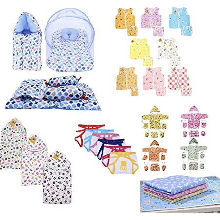 Infantbond 56 in 1 New Born Baby Complete Daily Items Combo(0-6 Months)(Apple) (Blue for Baby Boy)