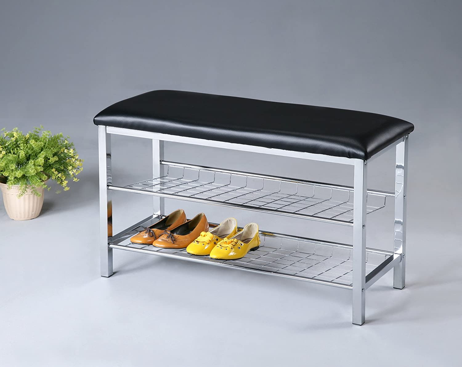 Roundhill Metal shoes Bench with Faux Leather Seat, Chrome and Black