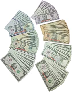 Prop Money Motion Picture Money Play Money Set (20 Pieces Each of $1's, $5's, $10's, $20's, $50's, $100's) $3740 in Game Money Full Print Copy Money 2 Sided for Monopoly, Photo, Pranks