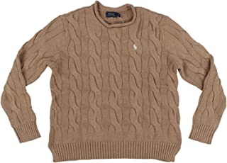 POLO RALPH LAUREN Womens Rolled Crew Neck Cable Knit Sweater (L, Light Brown)