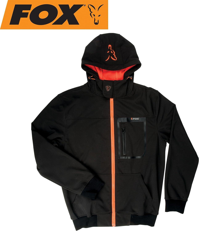Fox schwarz Orange Softshell Hoodie Angeljacke, Anglerjacke, Softshelljacke, Wasserdicht & Atmungsaktiv, Jacke für Angler