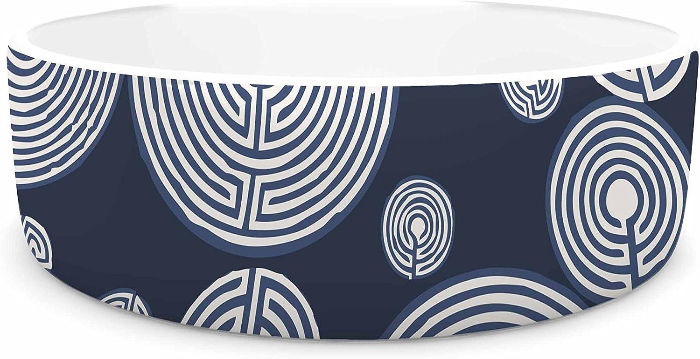 KESS InHouse Laura Nicholson Indigo Labyrinths  bluee White Pet Bowl, 4.75