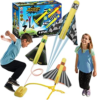 The Original Stomp Rocket Stunt Planes - 3 Foam Plane Toys for Boys and Girls - Outdoor Rocket Toy Gift for Ages 5 (6, 7, ...