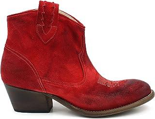 Texano-laarzen voor dames, grote getallen, van suède, rood, koraal