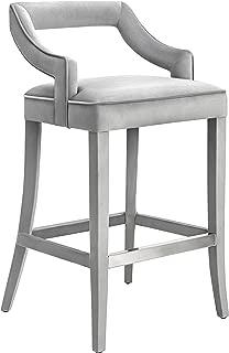 Tov Furniture Tiffany Collection Handmade Velvet Counter Stool, Grey