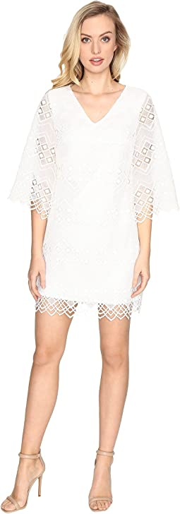 Bell Sleeve Dress w/ V-Back and Scallop Hem