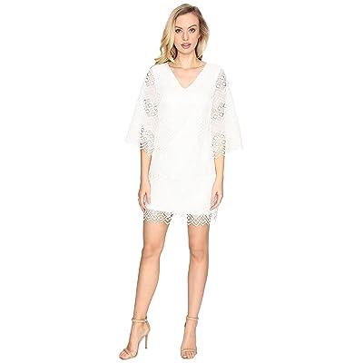 Laundry by Shelli Segal Bell Sleeve Dress w/ V-Back and Scallop Hem (Marshmallow) Women