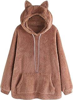 Cute Teddy Bear Hoodie Coat for Womens Teen Long Sleeve Fleece Sweatshirt Warm Bear Shape Fuzzy Hoodie Sweater Pullover
