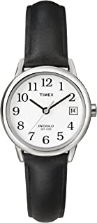Women's Indiglo Easy Reader Quartz Analog Leather Strap Watch with Date Feature