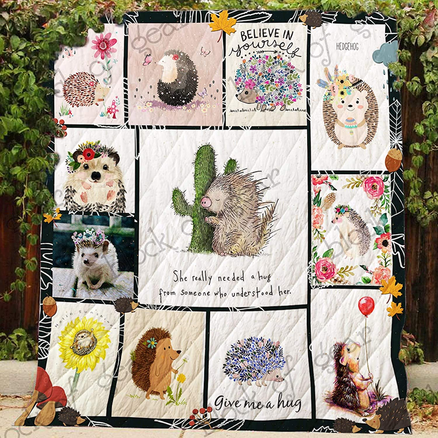 Give Me A Hug Hedgehog Quilt P361, Queen All-Season Quilts Comforters with Reversible Cotton King Queen Twin Size - Best Decorative Quilts-Unique Quilted for Gifts