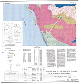 Historic Pictoric Map : Geologic maps of The Sarasota and Arcadia, Florida 30x60-minute quadrangles, 1995 Cartography Wall Art : 36in x 36in