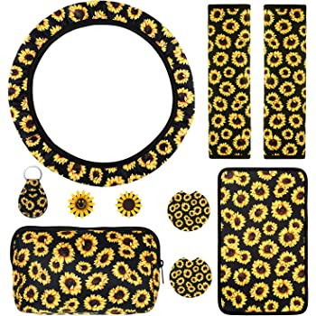 12Pcs Cute Car Accessories Set for Women and Man Seat Belt Shoulder Pads and Keyring Coaster Car Vent Decorations FOUUA Sunflower Car Accessories Set Include Sunflower Steering Wheel Cover