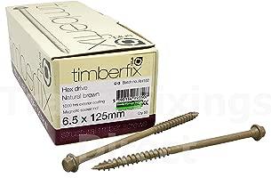 Timberfix/® Plus Lot de 50-6,5 x 200 mm Vis /à traverse pour bois de construction de terrasse T/ête hexagonale Embout pilote gratuit