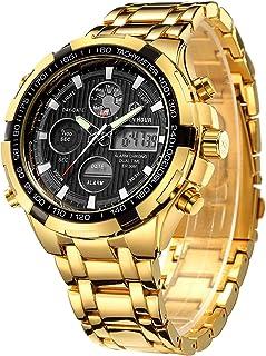 Luxury Stainless Steel Analog Digital Watches for Men Male Outdoor Sport Waterproof Big Heavy Wristwatch