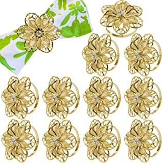 Gifts for Christmas and Thanksgiving Day, 12 Pack Hollow Out Flower Napkin Rings, Gold Serviette Buckle Holder for Easter, Family Gathering, Dinner Party, Wedding Decor (Hollow Out Flower)