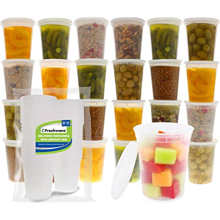 Freshware Food Storage Containers [24 Set] 32 oz Plastic Deli Containers with Lids, Slime, Soup, Meal Prep Containers | BPA Free | Stackable | Leakproof | Microwave/Dishwasher/Freezer Safe