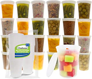 Freshware Food Storage Containers [24 Set] 32 oz Plastic Deli Containers with Lids, Slime, Soup, Meal Prep Containers | BP...