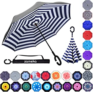 Z ZAMEKA Double Layer Inverted Umbrellas Reverse Folding Umbrella Windproof UV Protection Big Straight Umbrella Inside Out Upside Down for Car Rain Outdoor with C-Shaped Handle, Stripes Navy Blue
