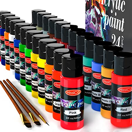 Acrylic Paint Set of 24 Colors 2fl oz 60ml Bottles,Non Toxic 24 Colors Acrylic Paint No Fading Rich Pigment for Kids Adults Artists Canvas Crafts Wood Painting