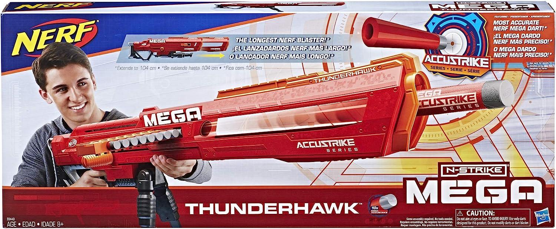 Nerf Mega Thunderhawkcon Cargador Deslizante y trípode Plegable (Hasbro E0440EU4)
