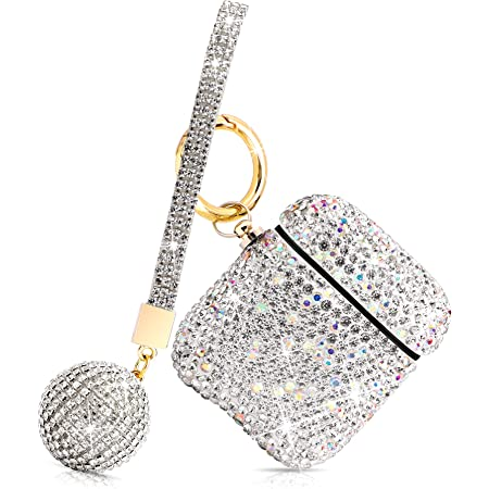 Luxurious Rhinestone AirPods Case, Protective Bling Diamonds AirPod Charging Protective Case Cover for Apple I10/I12 TWS (Silver with Keyring)