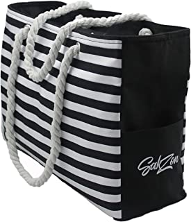 Beach Tote Bag   Large Waterproof Sandproof with YKK Zippered top, cotton rope handles and multiple pockets (Black)