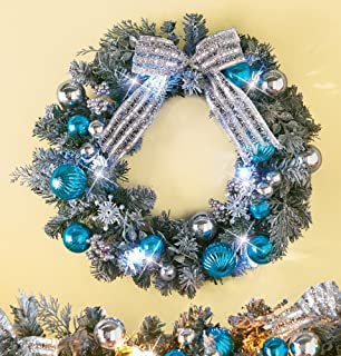 Collections Etc Lighted Christmas Glitter Snowflake Wreath
