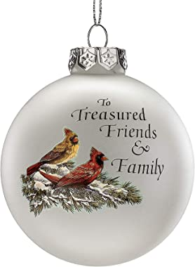 Wisechoice Decorative Christmas Glass Ball Ornaments Heirloom in Style with to Treasured Friends & Family Word Engraved and C