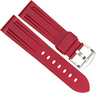 New 24mm Soft Rubber Strap Red Diver Watch Band fits PANERAI with Brush Stainless Buckle