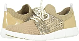 Tan Knit/Gold Metallic Snake-Print Leather