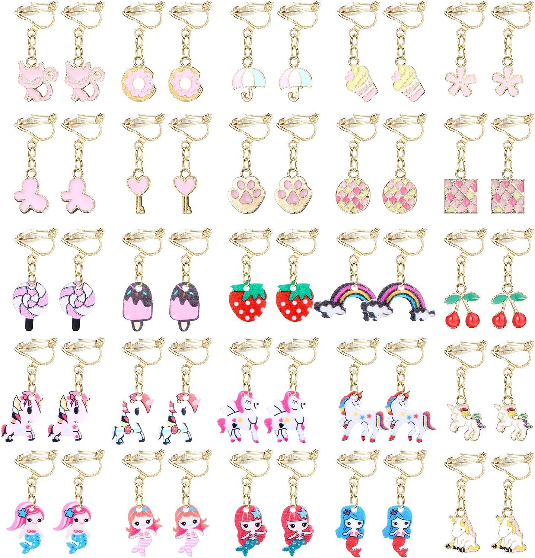 Finrezio 25Pairs Clip on Earrings for Women Cute Princess Play Jewelry Earrings Set Mermaid Animal Flower Moon Star Clipon Earrings Lady Party Accessory