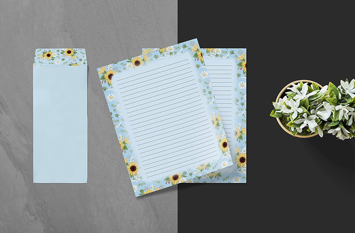 Floral Paper Stationery Set, 100 Piece Set (50 Lined Sheets + 50 Matching Envelopes), Letter Size 8.5 x 11 inch, 6 Designs, Double Sided/Lined Printing Paper, by Better Office Products : Office Products