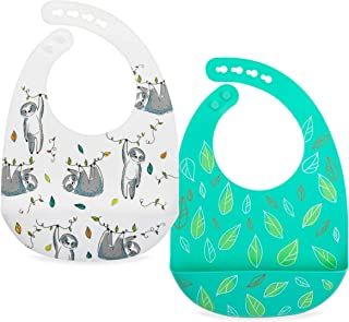Nuby 2 Pack Adjustable Easy Clean Soft Silicone Bibs with Scoop, Leaves & Sloth