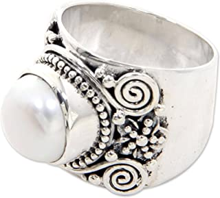 White Cultured Freshwater Pearl .925 Sterling Silver Cocktail Ring, White Frangipani'