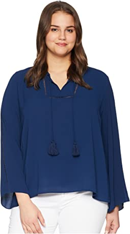 Vince Camuto Specialty Size Plus Size Bell Sleeve Tassel Tie Neck Blouse w/ Faggoting