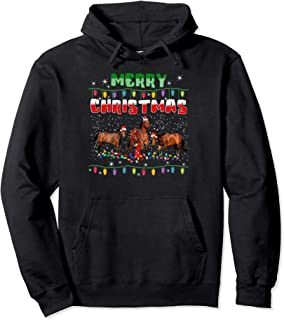 Horse Christmas Lights T Shirt Merry Christmas Horse Lovers Pullover Hoodie