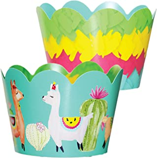 Fiesta Party Supplies - 36 Reversible Cupcake Wrappers | Llama Pinata | Reversible | Mexican Party Decorations, Taco Twosday Birthday Party Supplies