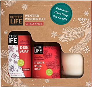 Better Life Natural Winter Wishes Kit, Citrus Spice Scented Candle, Hand Soap, Dish Soap, 24322