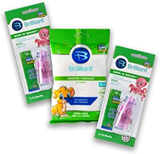 Baby Buddy Wipe-N-Brush & 30 Wipes Stage 3 for Babies/Toddlers, Kids Love Them, Pink, 2 Count