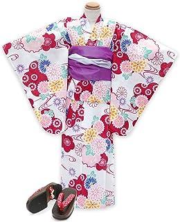 浴衣 こども 女の子 セット 古典柄の女の子浴衣 兵児帯 下駄 3点セット 110「生成り 赤系菊と雪輪」OCN11-7A-Mset